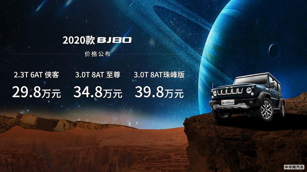 售29.8万起/6缸大排  2020款北京越野BJ80上市