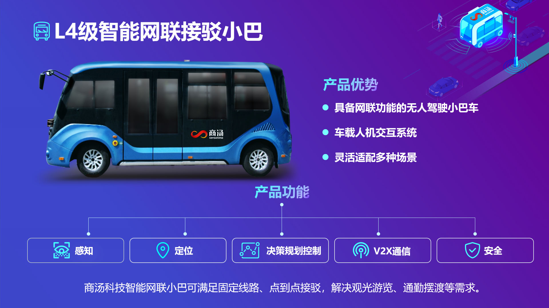 商汤发布L4级接驳小巴和智能路侧感知解决方案,加速V2X创新