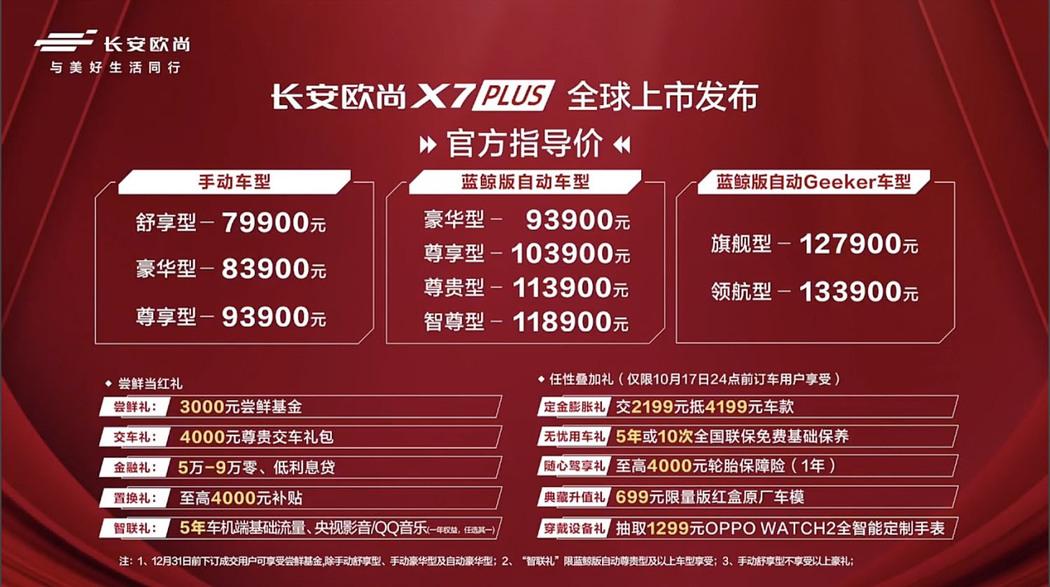 长安欧尚X7 PLUS配置丰富 售价7.99万-13.39万