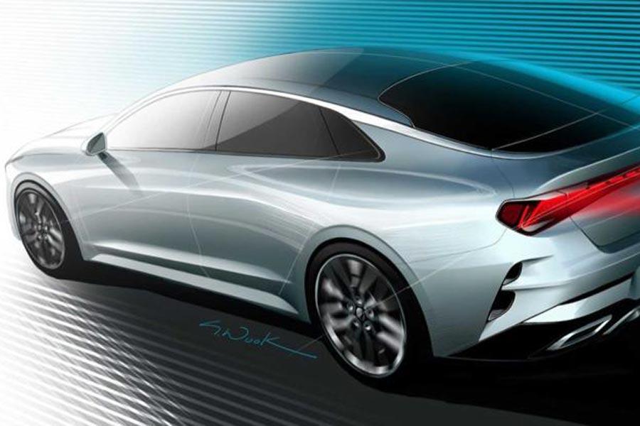 采用溜背式设计 全新起亚K5最新预告图发布
