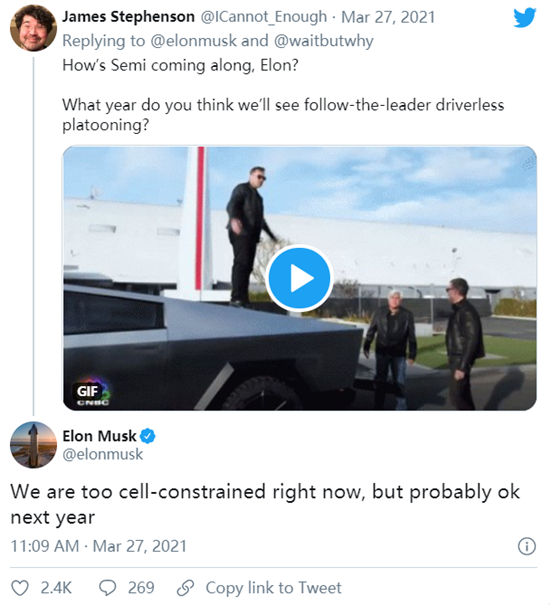 电芯限制可能影响Tesla Semi卡车上市